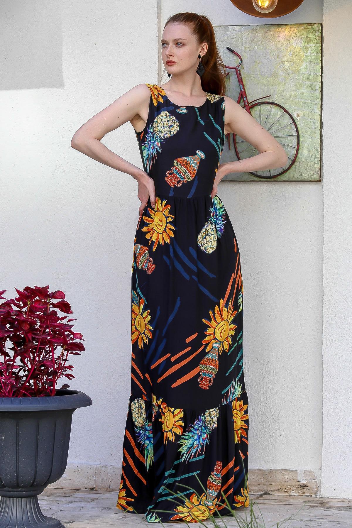 Chiccy Kadın Siyah Sıfır Yaka Ananas Desenli Astarlı Fermuarlı Dokuma Uzun Elbise M10160000El94772 2