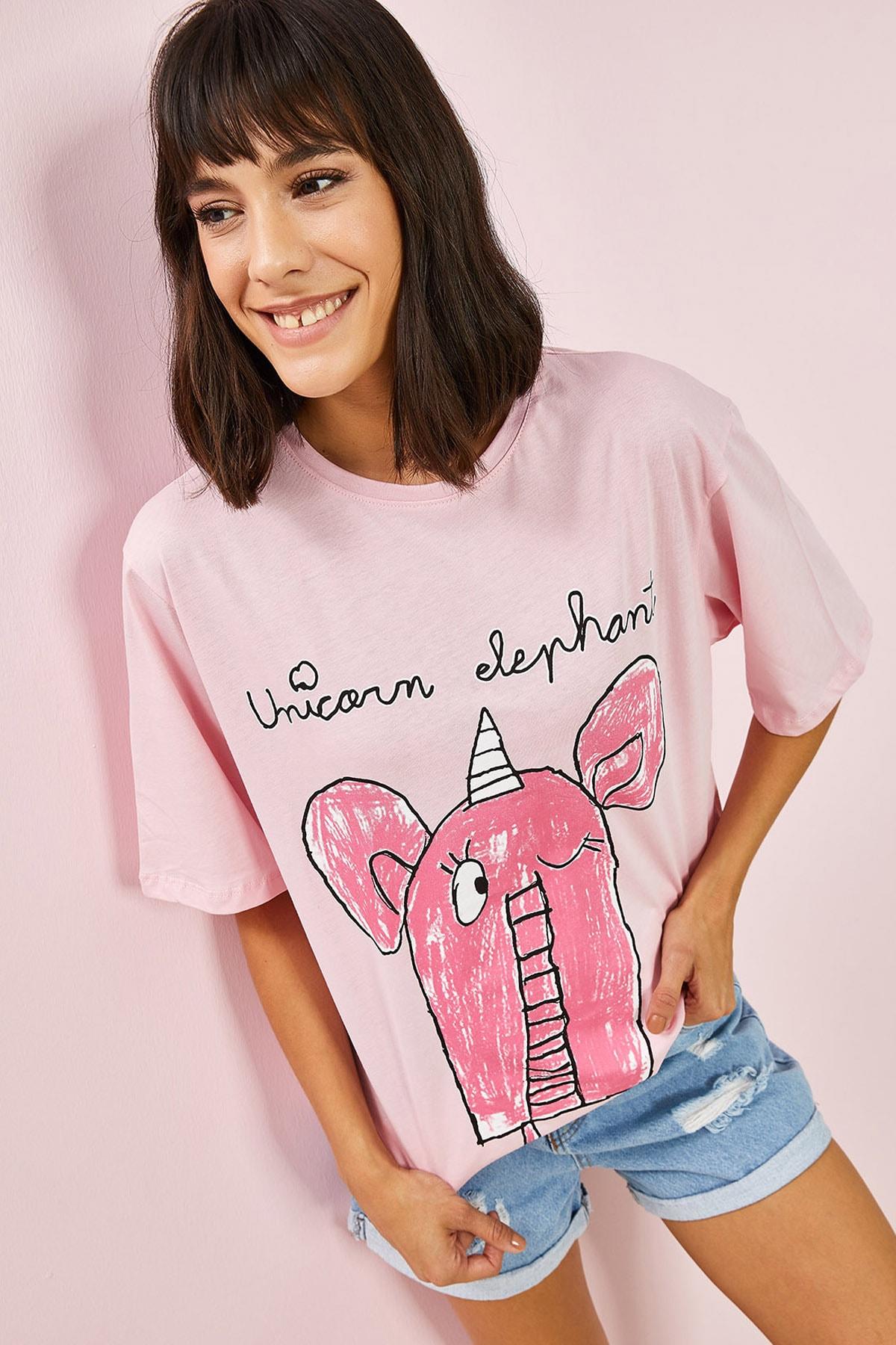 Kadın Pembe Fil Baskılı Oversize Tshirt