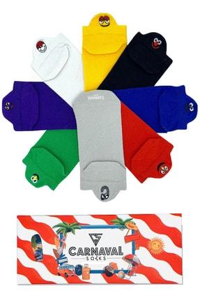 CARNAVAL SOCKS 8'li Emoji Desenli Bilekte Nakışlı Patik Spor Çorap 1