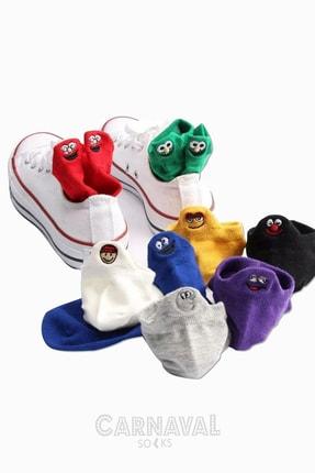 CARNAVAL SOCKS 8'li Emoji Desenli Bilekte Nakışlı Patik Spor Çorap 2
