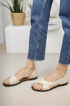 Moda Frato Kadın Krem Açık Sandalet Yazlık Ayakkabı Babet 2