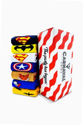 CARNAVAL SOCKS 7'li Marvel Karakter Renkli Çorap Set 1018 0