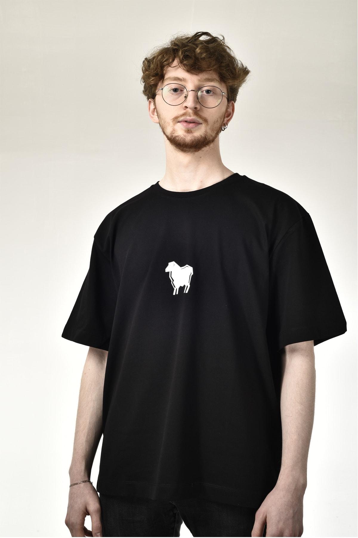 Unısex Siyah Baskılı Geniş Kalıp T-shirt