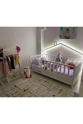 Baby Kinder Beyaz Doğal Ahşap Yatak Montessori Bebek ve Çocuk Karyolası 1
