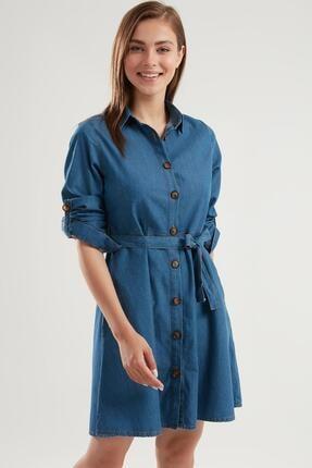 Pattaya Kadın Kuşaklı Mini Kot Gömlek Elbise Ptty20s-9924 0