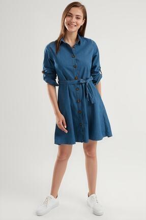 Pattaya Kadın Kuşaklı Mini Kot Gömlek Elbise Ptty20s-9924 2
