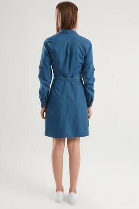 Pattaya Kadın Kuşaklı Mini Kot Gömlek Elbise Ptty20s-9924 3
