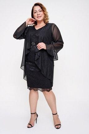 Picture of Beli Tokalı Dantel Elbise Simli Ceket B.b Ikili Takım Siyah