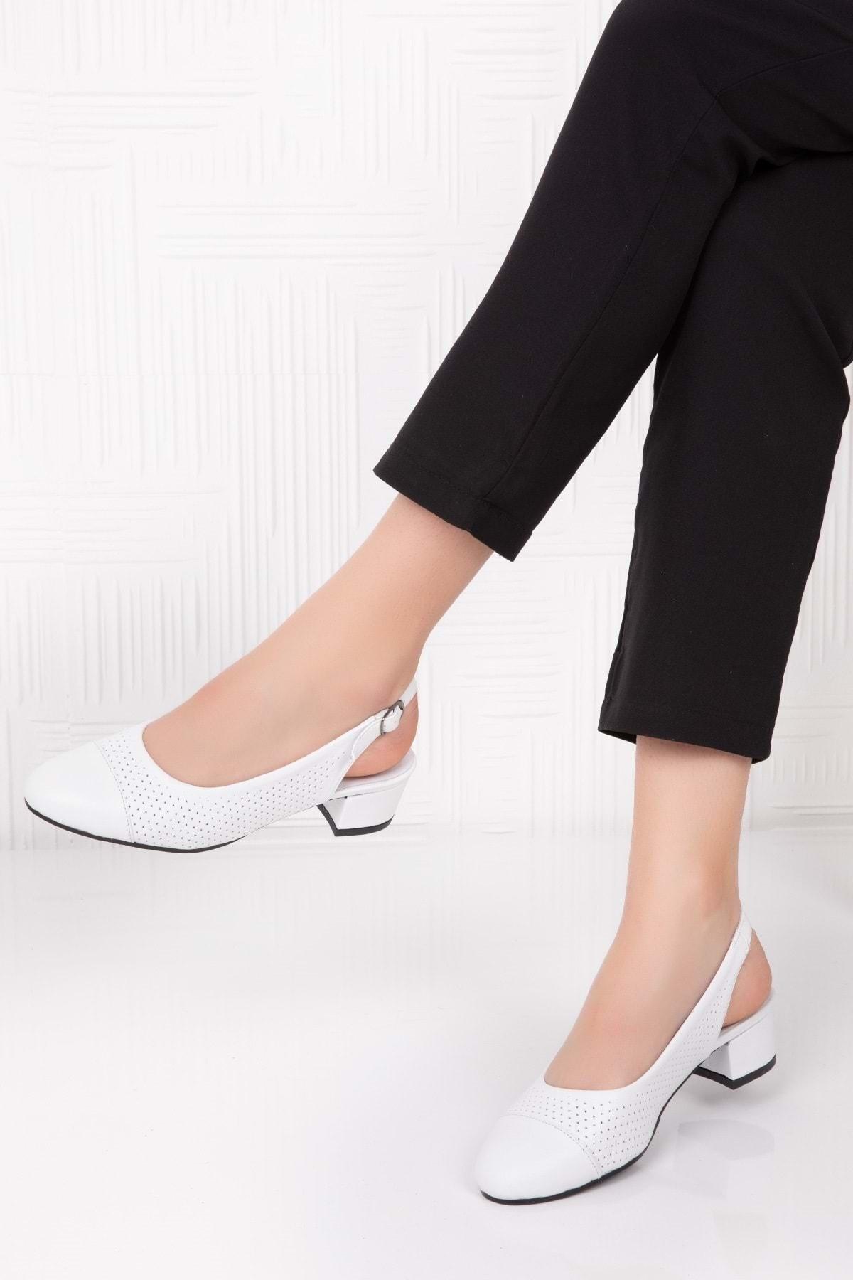 Hakiki Deri Yumuşak Dokulu Günlük Ayakkabı Beyaz 35 Vdt.37