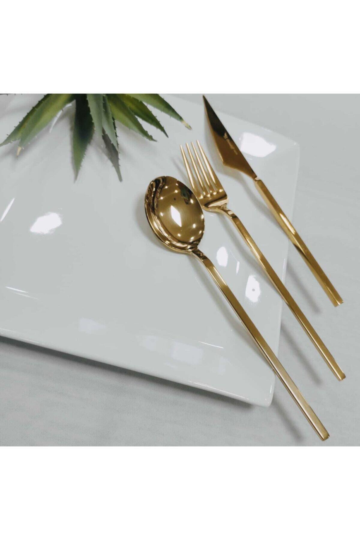 Gold 84 Parça 12 Kişilik Çatal Kaşık Bıçak Takımı