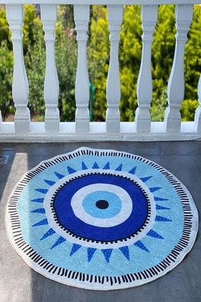 Reyndi Home Yıkanabilir Kaymaz Tabanlı Nazar Boncuğu Desenli Halı Eye Serisi 1