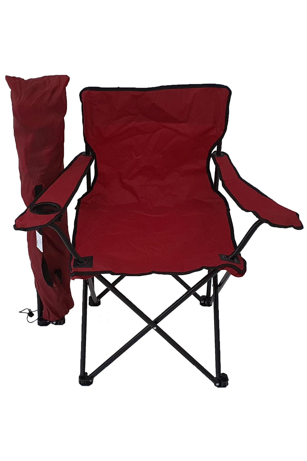 Kamp Sandalyesi Piknik Sandalyesi Katlanır Sandalye Taşıma Çantalı Kamp Sandalyesi Kırmızı
