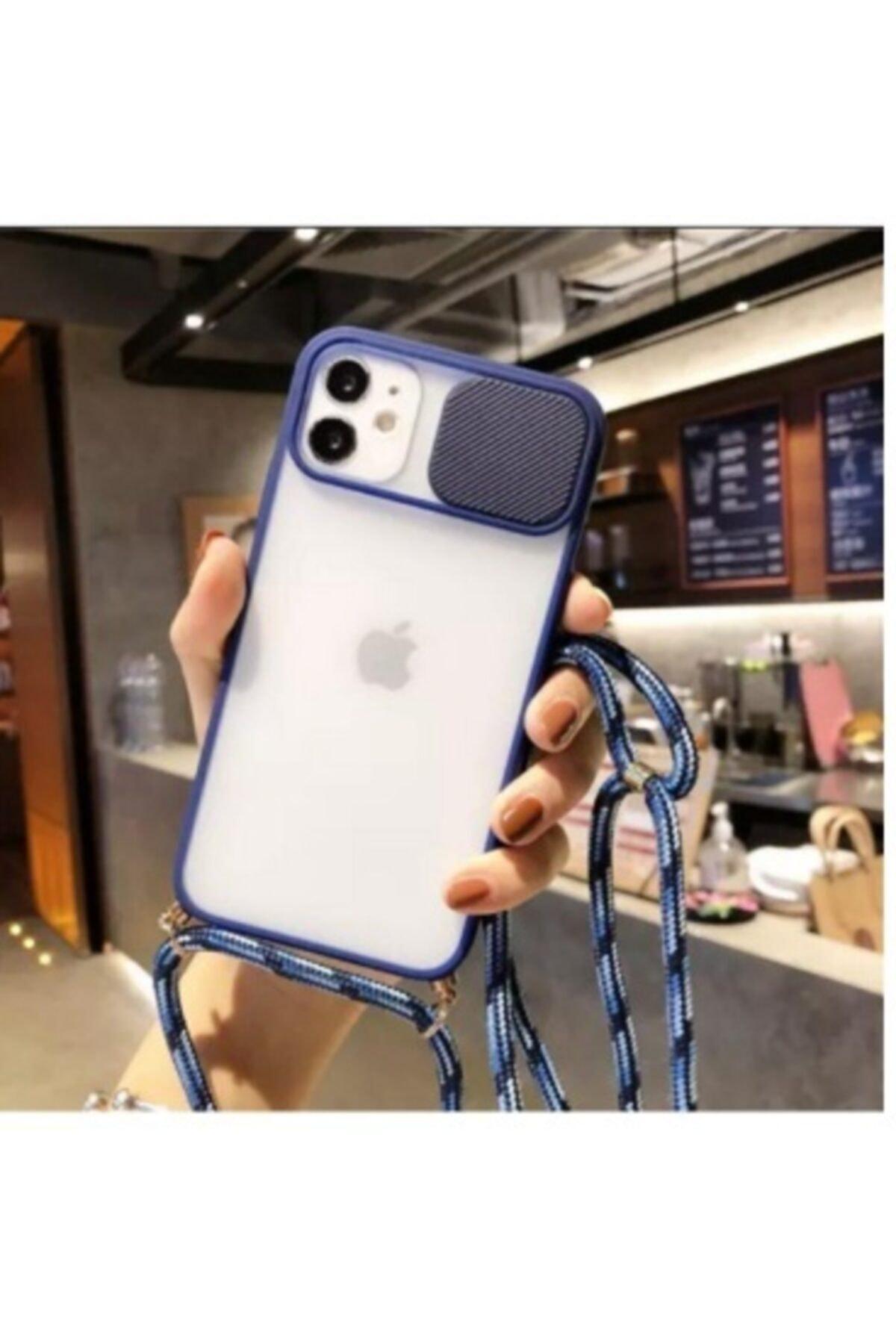 Iphone 11 Sürgülü Kamera Korumalı Boyun Askılı Ipli Kılıf Lacivert