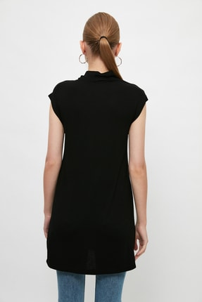 Trendyol Modest Siyah Dik Yaka İçlik Viskon İnce Tunik TCTSS21TN0249 4