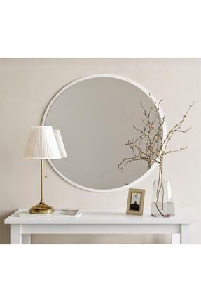 Aktın Cam Dekoratif Yuvarlak Ayna Beyaz 1