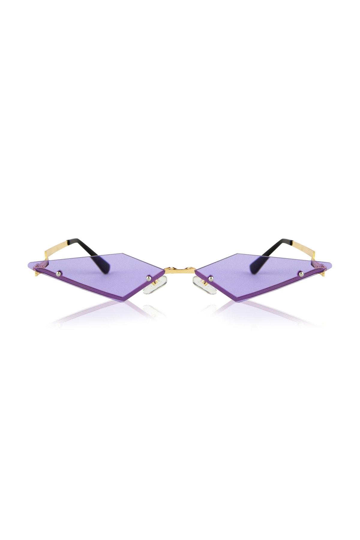 Lila Gözlük Üçgen Kesim Tasarım Şık