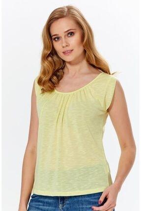 İkiler Kadın Açık Fıstık Yeşil Yakası Büzgülü Flam Bluz 018-1616 0