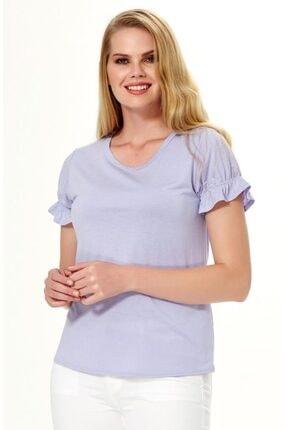 İkiler Kadın Koyu Lila Kısa Kol Kolu Lastikli Bluz 018-1205 2