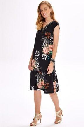 İkiler Yakası Simli Bantlı Eteği Volanlı Desenli Elbise 020-4029 1