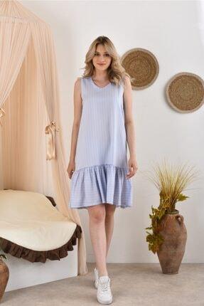 Kadın Mavi Kolsuz Eteği Fırfırlı Elbise PLY PAMUK FIRFIRLI ÇİZGİ ELBİSE
