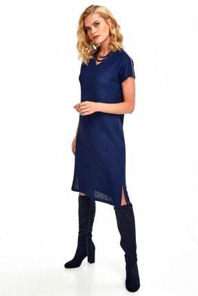 İkiler Kadın Lacivert V Yaka Omuzları Şeritli Elbise 190-2510 0