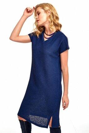 İkiler Kadın Lacivert V Yaka Omuzları Şeritli Elbise 190-2510 1