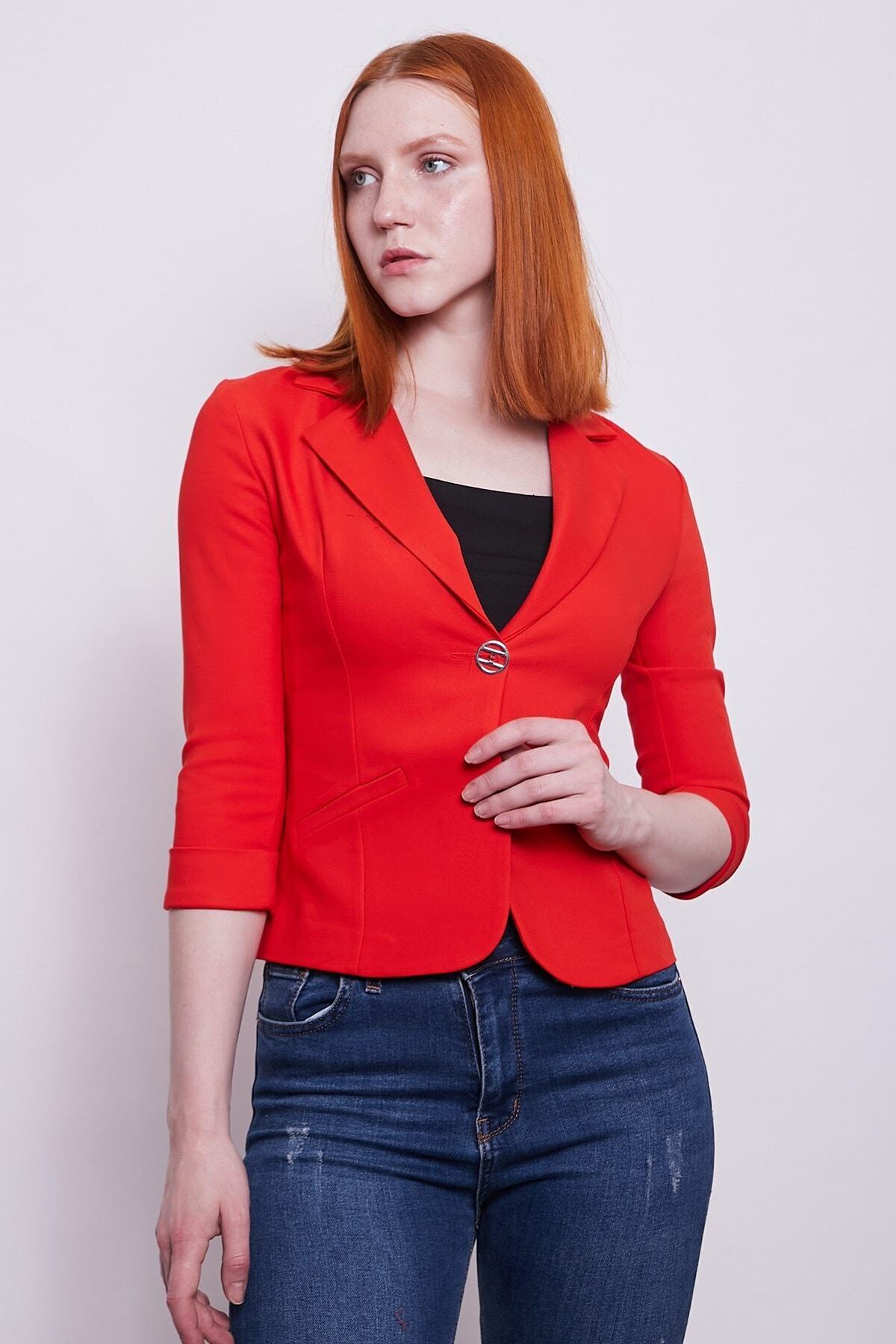 Yakalı Flato Cepli Capri Kol Kısa Blazer Ceket-açık Kırmızı