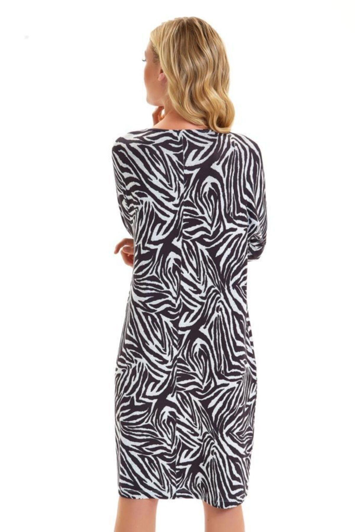 İkiler Yakası Metal Fermuarlı Zebra Desen Elbise 201-2511