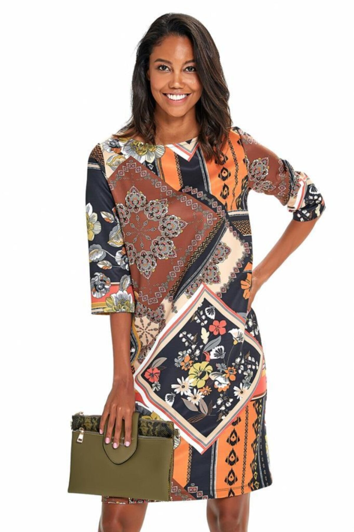 Kadın Kahverengi Truvakar Kol Etnik Desenli Elbise 190-4026