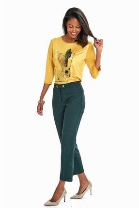 İkiler Kadın Yeşil Beli Çift Düğmeli Relax Fit Pantolon 190-3515 1
