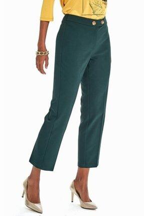 İkiler Kadın Yeşil Beli Çift Düğmeli Relax Fit Pantolon 190-3515 2