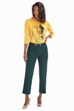 İkiler Kadın Yeşil Beli Çift Düğmeli Relax Fit Pantolon 190-3515 3