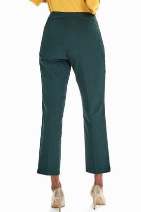 İkiler Kadın Yeşil Beli Çift Düğmeli Relax Fit Pantolon 190-3515 4