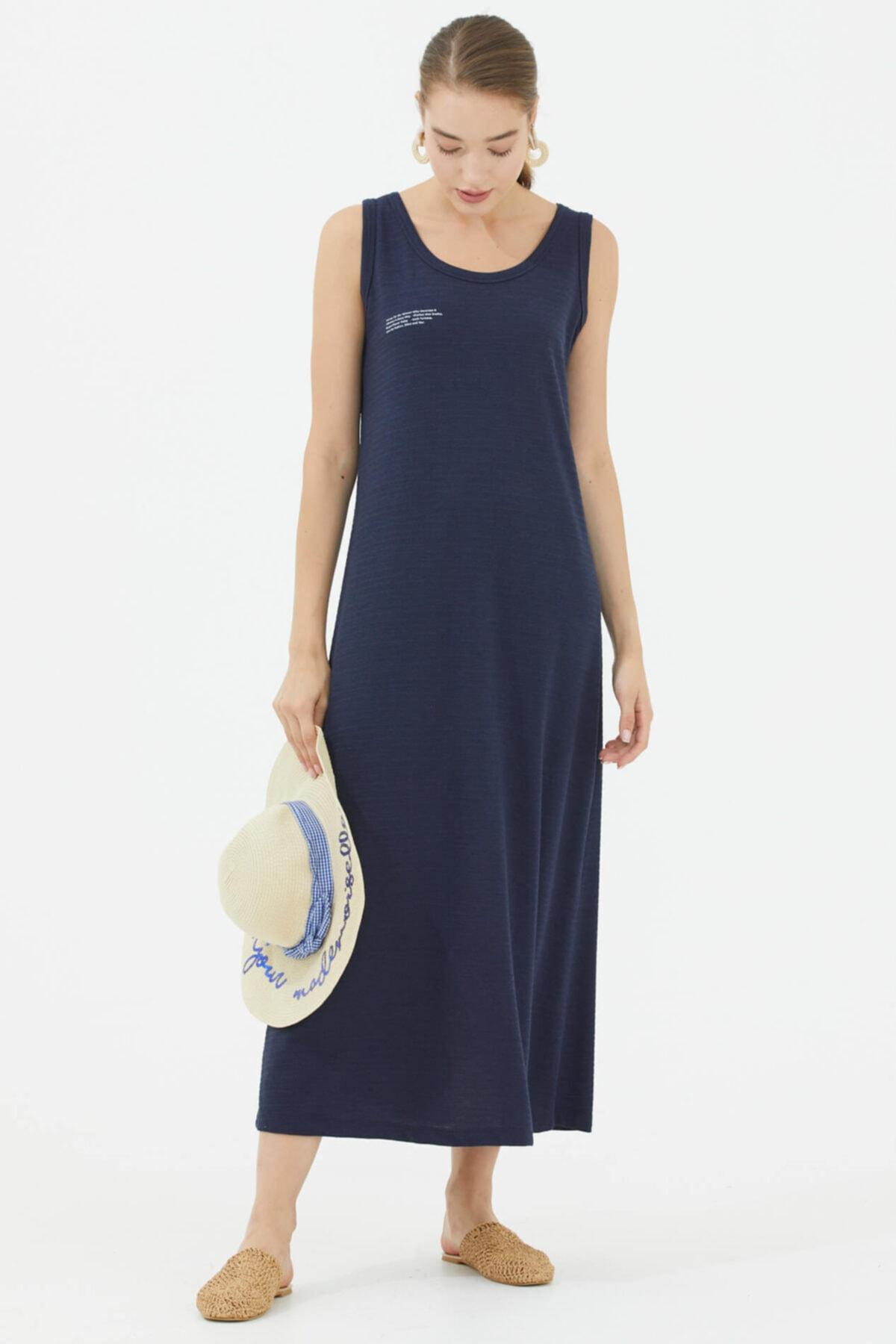 Rahat Kalıp Askılı Uzun Penye Elbise - Lacivert
