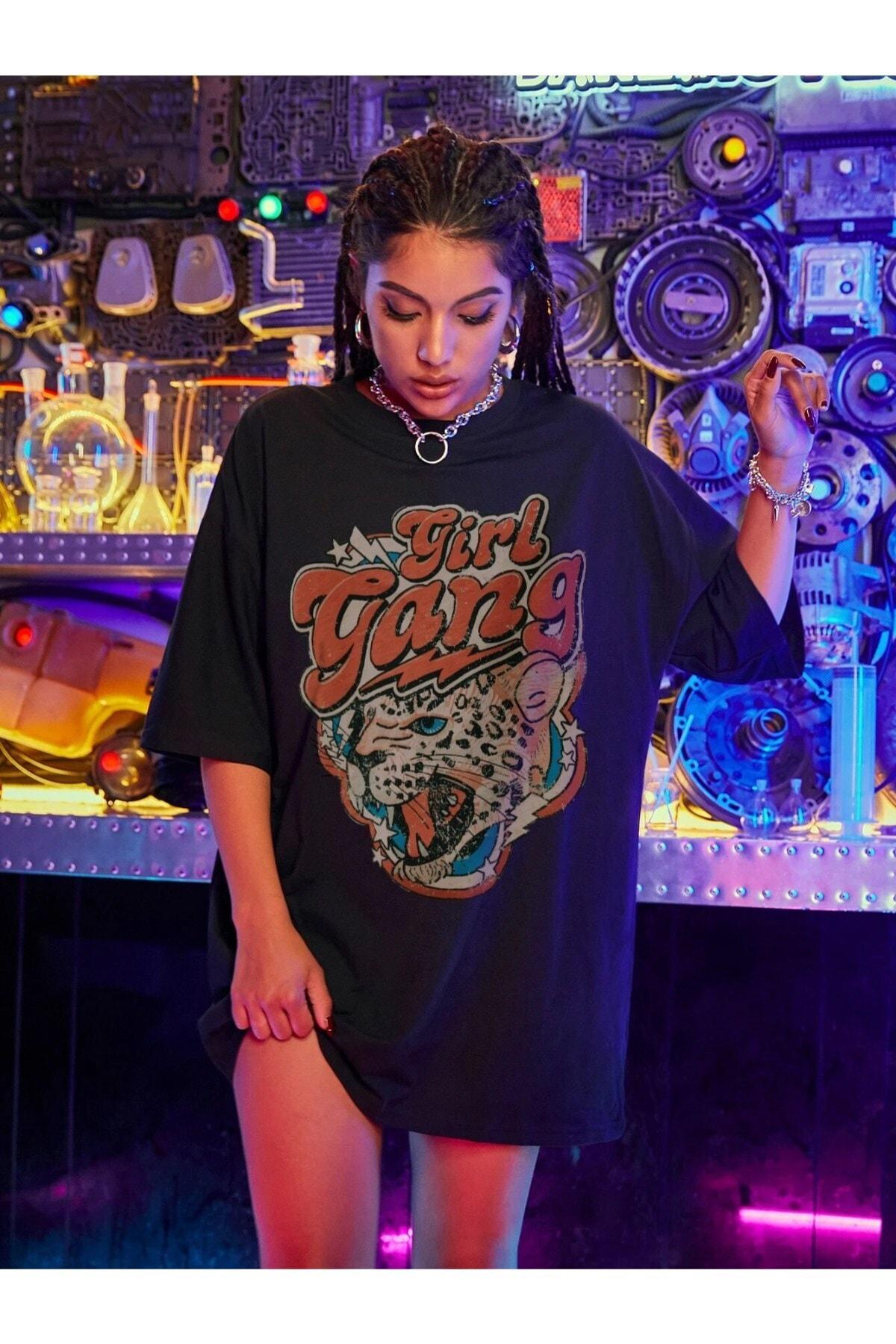 Kadın Siyah Girl Gang Baskılı Oversize T-shirt