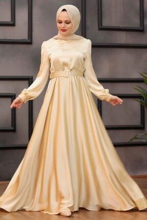 Kadın Tesettürlü Abiye Elbiseler - Kemerli Bej Tesettür Abiye Elbise 28890bej OZD-2889