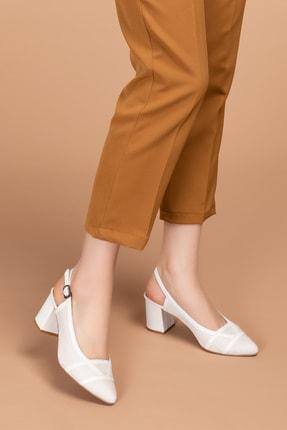 Gondol Hakiki Deri Renkli Tar Topuklu Ayakkabı Şhn.75 - Beyaz Süet - 37 2
