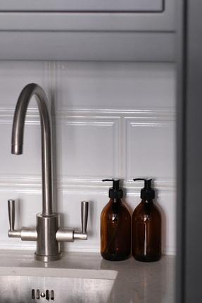 TriChi Design 300ml Kahverengi Amber Cam Şişe Sıvı Sabunluk 0