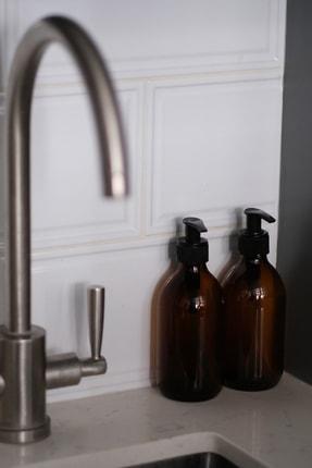 TriChi Design 300ml Kahverengi Amber Cam Şişe Sıvı Sabunluk 3