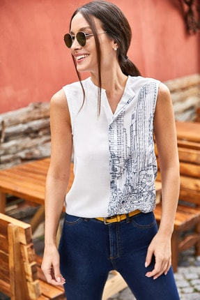 تصویر از Kadın Antrasit Dijital Baskılı Önü Biyeli Kolsuz Bluz ARM-21Y001033