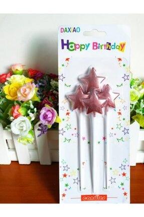 Pembe Rose Renk Yıldız Şekilli Pasta Mumu Pasta Süsleme Doğum Günü 4 Adet RR82876547713237