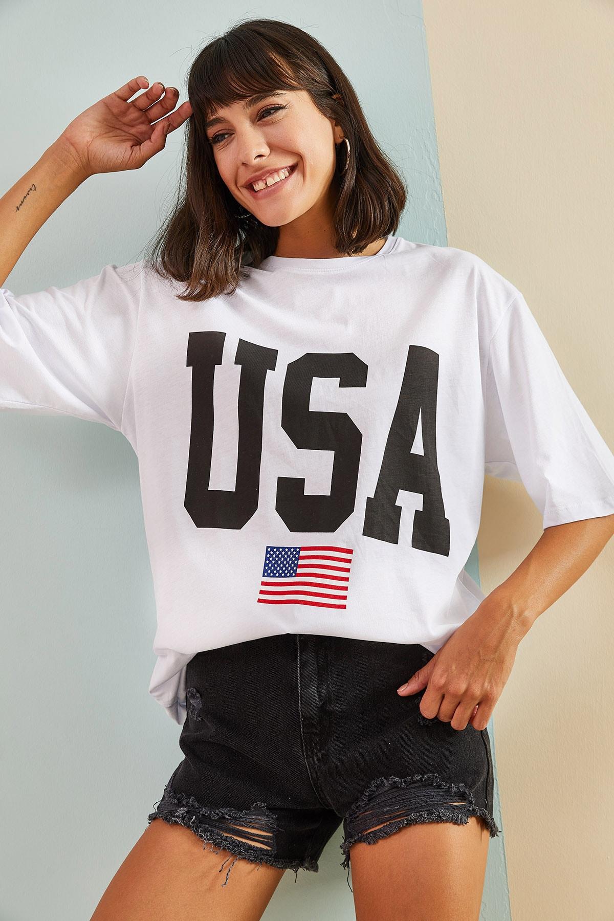 Kadın Usa Baskılı Oversize Tshirt