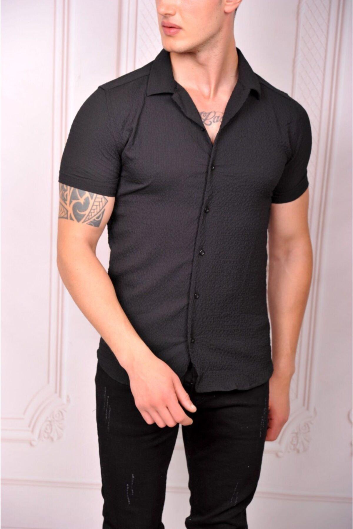 Erkek Kısa Kol Salaş Yazlık Gömlek