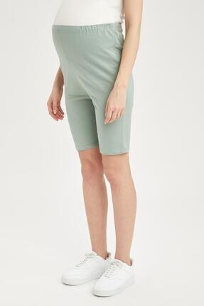 Defacto Kadın Yeşil Slim Fit Biker Hamile Taytı 1