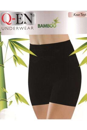 Q-EN 803 Kadın Siyah Ikom Bambu Kısa Sort Tayt 0