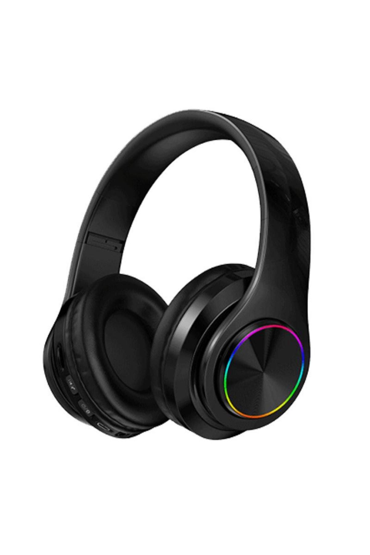 Kablosuz Kulaklık Bluetooth Mikrofonlu Kulaküstü Kulaklık Led Işıklı Katlanabilir Siyah