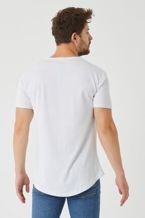 westkombin Erkek Beyaz Pis Yaka Basic  T-Shirt 2