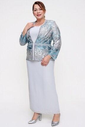Picture of Boncuk Detaylı Güpür Ceket Elbise Büyük Beden İkili Takım Mint