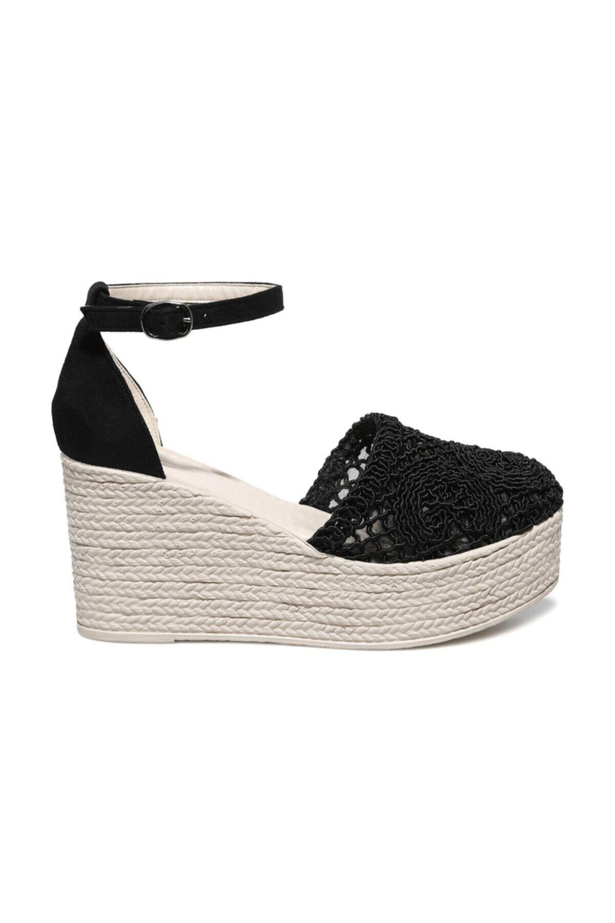 Holly 1fx Siyah Kadın Dolgu Topuklu Sandalet