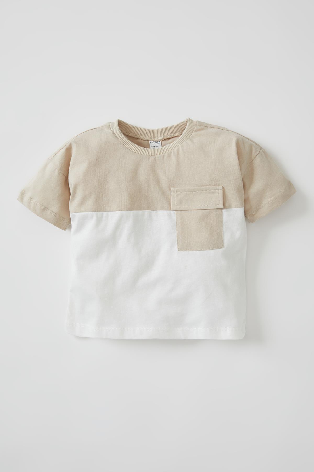 Unisex Cep Detaylı Kısa Kollu Pamuklu Tişört